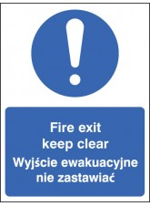 Fire Exit Keep Clear (English / Polish)