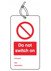Do Not Switch On - Double Sided Safety Tag (Pack of 10)