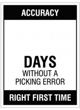 "Large Wipe Clean Board ""Accuracy (Write Number) Days without a Picking Error"""