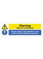 Coronavirus Floor Graphic - Warning Risk of Coronavirus - Please keep a safe distance