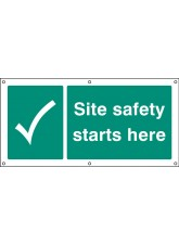 Site Safety Starts Here - Banner with Eyelets