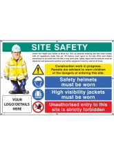 Site Safety - Helmets - Hi-vis - Unauthorised Entry Custom - Banner with Eyelets - 1270 x 810mm