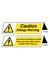 Food Allergy Notice - Double Sided Plastic Table Cards (Pack of 5)