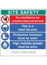 Site Safety Board - No Admittance - Hard Hat - Footwear - Hivis - Site Saver Sign 1220 x 1220mm