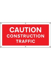 Caution Construction Traffic - Banner with Eyelets