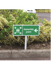 Assembly Point Left - White Powder Coated Aluminium 450 x 150mm (800mm Post)