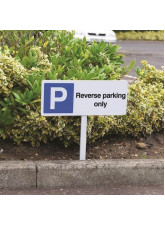 Reverse Parking Only - White Powder Coated Aluminium - 450 x 150mm (800mm Post)