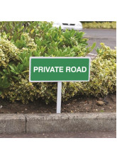 Private Road - White Powder Coated Aluminium - 450 x 150mm (800mm Post)