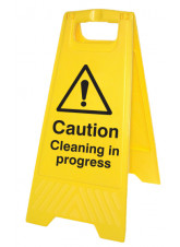 Caution Cleaning in Progress - Self Standing Folding Sign
