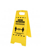 Warning Coronavirus - Please Wait Yellow A-Frame
