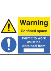 Warning Confined Space Permit to Work Must be Obtained