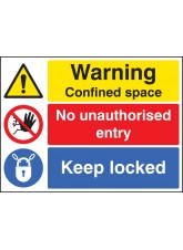 Warning Confined Space No Entry Keep Locked