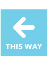 This Way - Arrow Left - Blue Floor Graphic